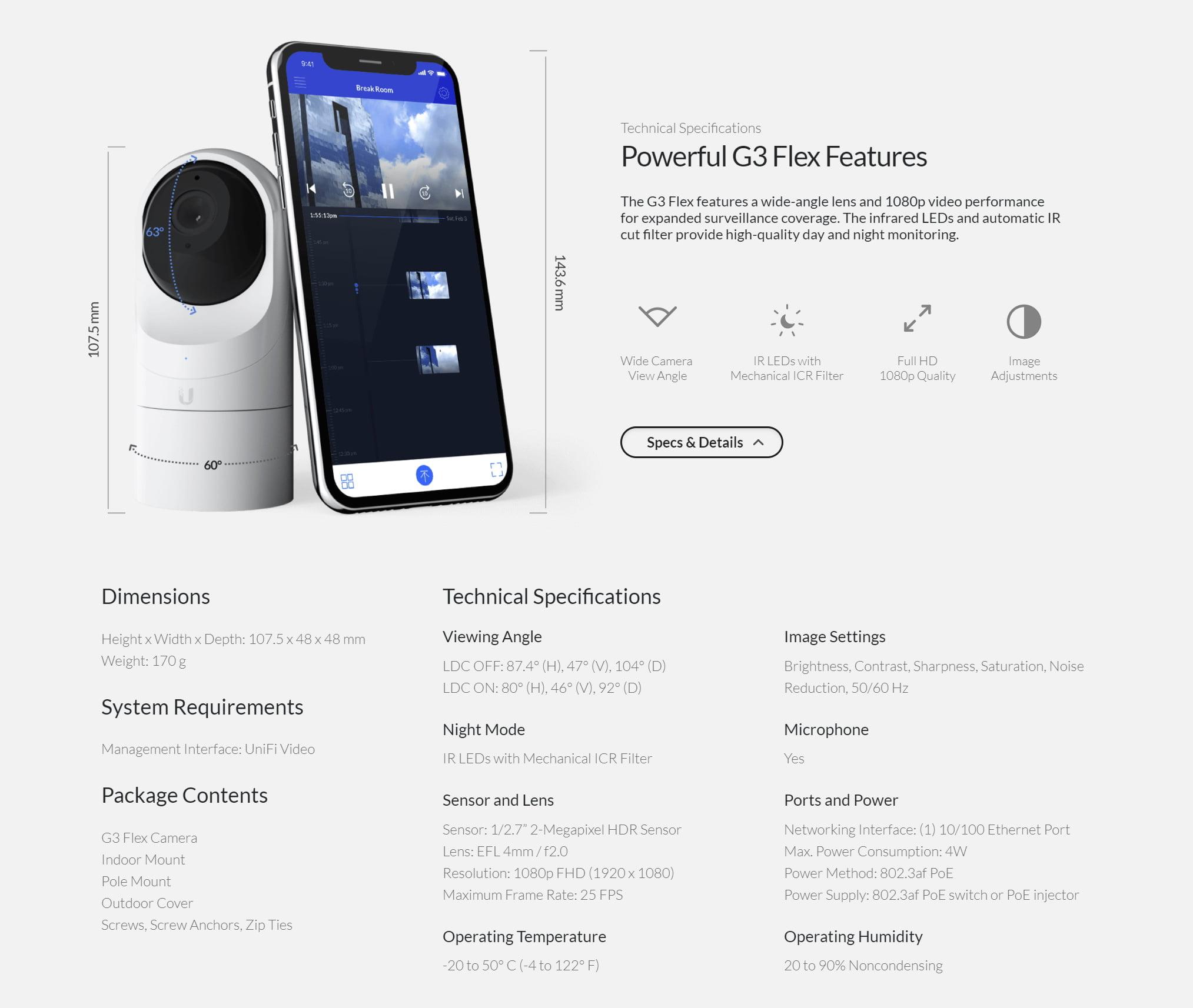 UniFi Video G3-FLEX Camera 室內外型 1080P 網路攝影機 12
